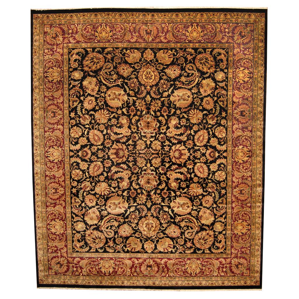 Indo Persian Tabriz Wool Area Rug: Indo Hand-knotted Vegetable Dye Tabriz Wool Rug (12' X 14