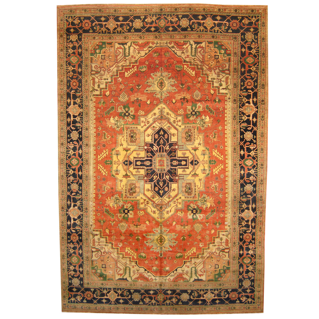 Indo Hand Knotted Vegetable Dye Serapi Wool Rug 12 X 18