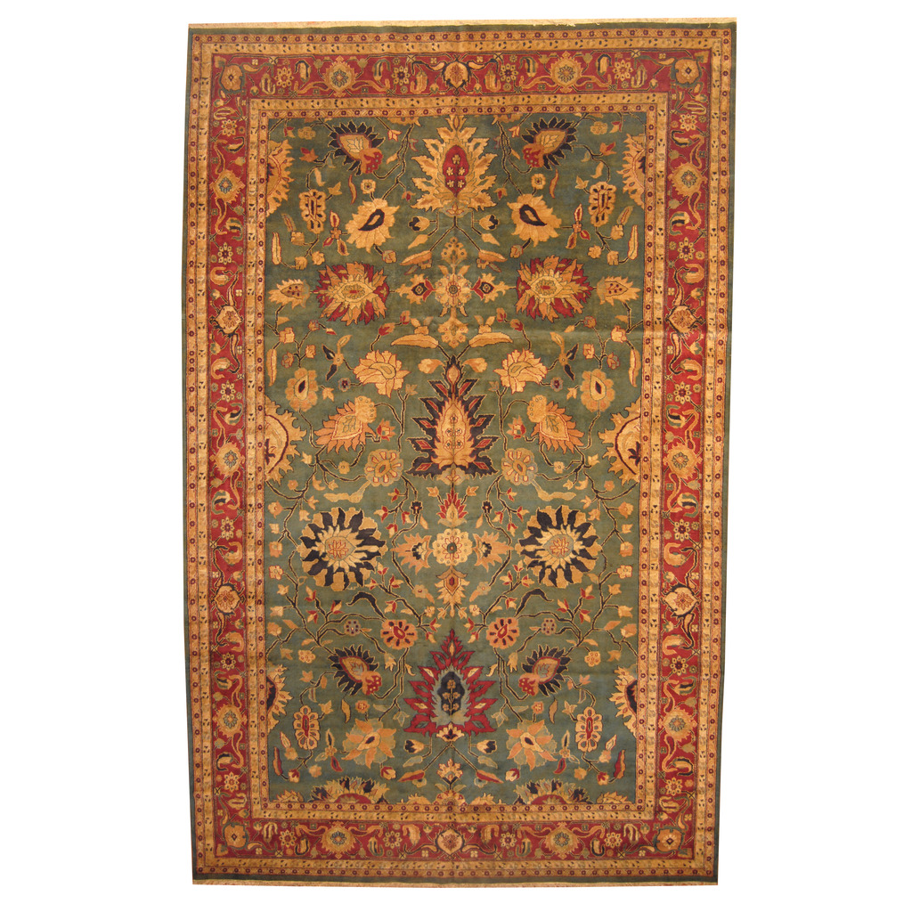 Indo Hand Knotted Vegetable Dye Oushak Wool Rug 11 5 X 18