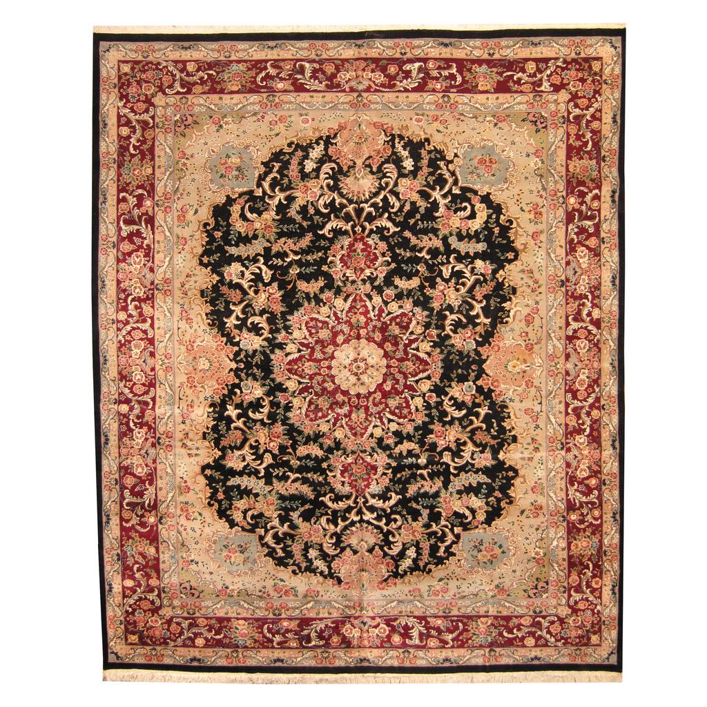 Indo Persian Tabriz Wool Area Rug: Indo Hand-knotted Vegetable Dye Tabriz Wool & Silk Rug (12