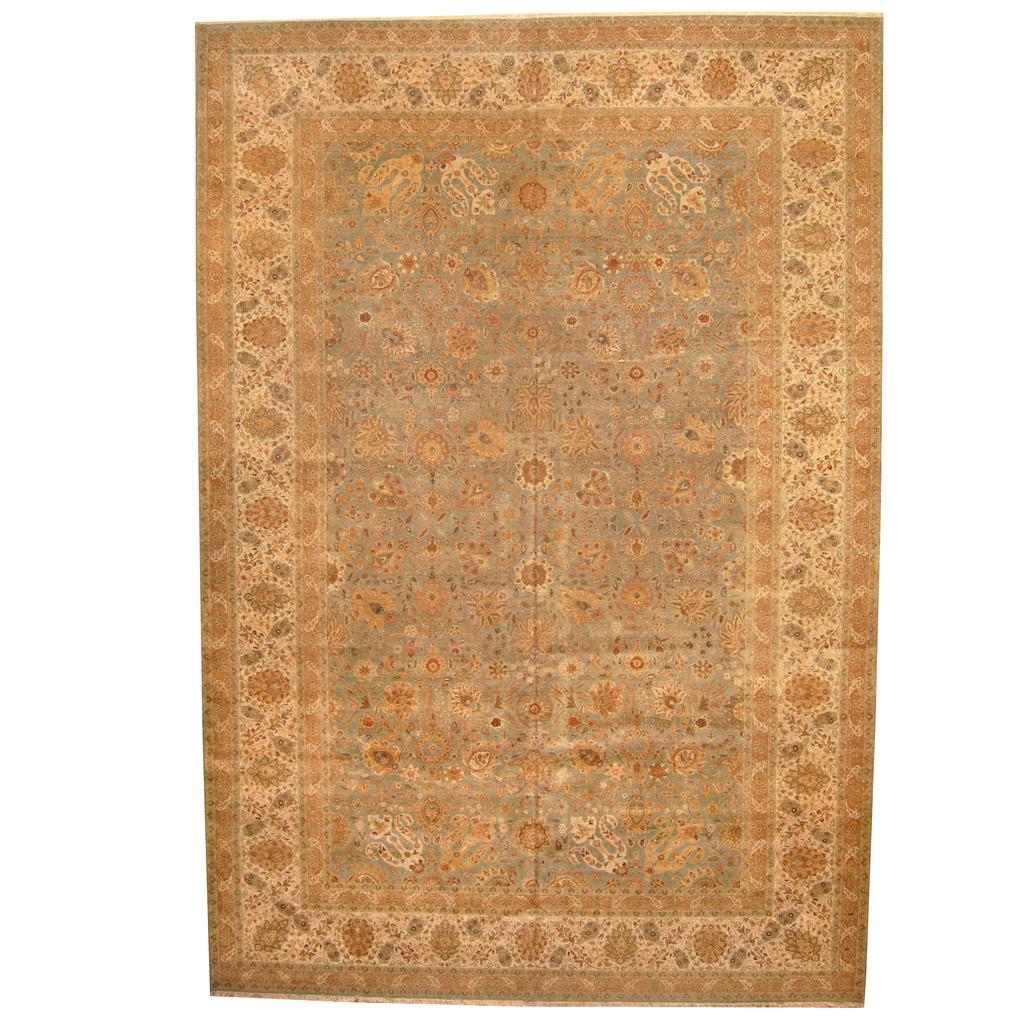 Indo Persian Tabriz Wool Area Rug: Indo Hand-knotted Vegetable Dye Tabriz Wool Rug (13' X 19