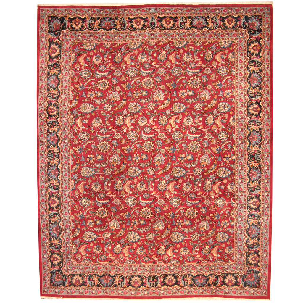 Persian Hand Knotted 1960s Semi Antique Mashad Wool Rug 11 4 X 14 2