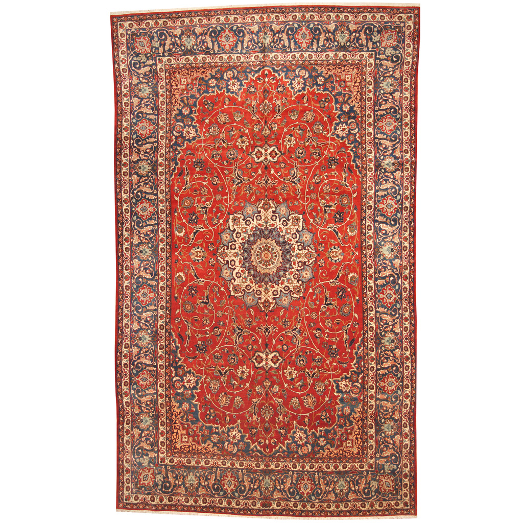 Hand Knotted Persian Isfahan Wool Area Rug: Persian Hand-knotted 1950s Semi-antique Isfahan Wool Rug