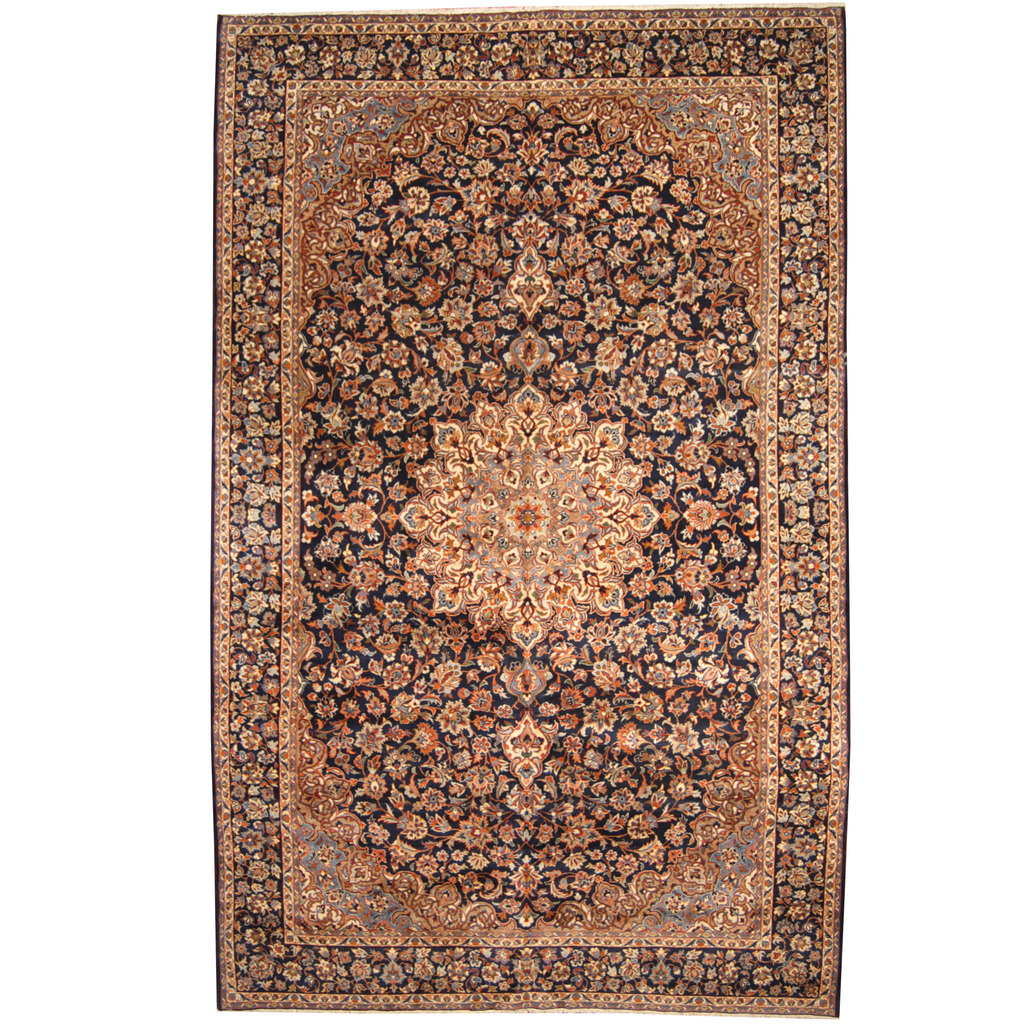 Persian Hand-knotted 1960s Semi-antique Isfahan Wool Rug