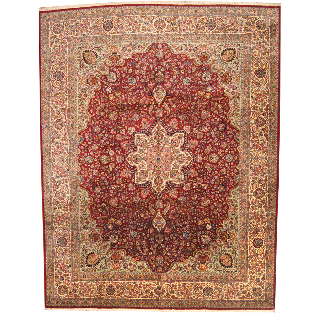 Hand Knotted Persian Tabriz Wool Area Rug Ebth: Persian Hand-knotted 1960s Semi-antique Tabriz Wool Rug
