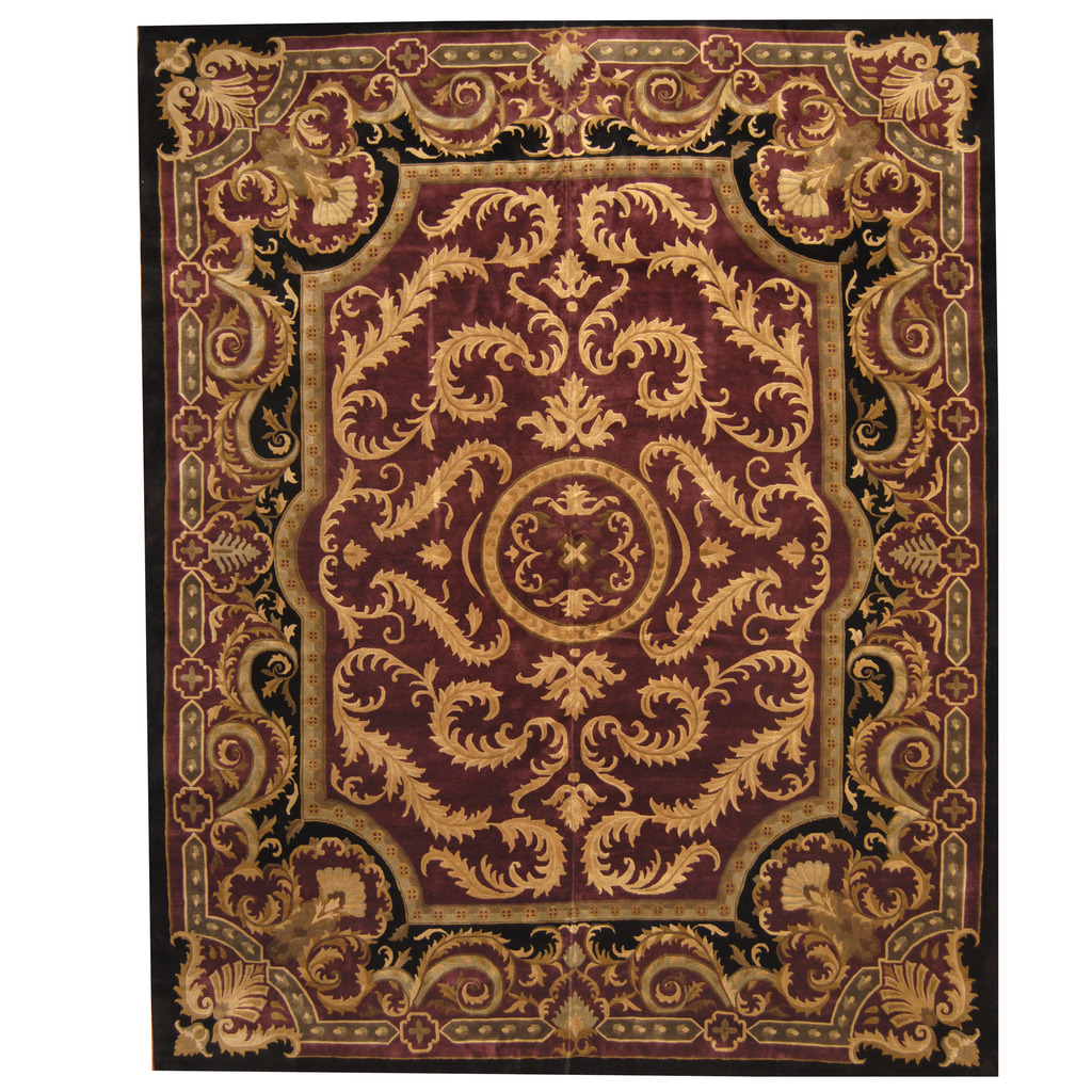 Indo Tibetan Hand-knotted Aubusson Wool Rug (12'2 x 15'2)