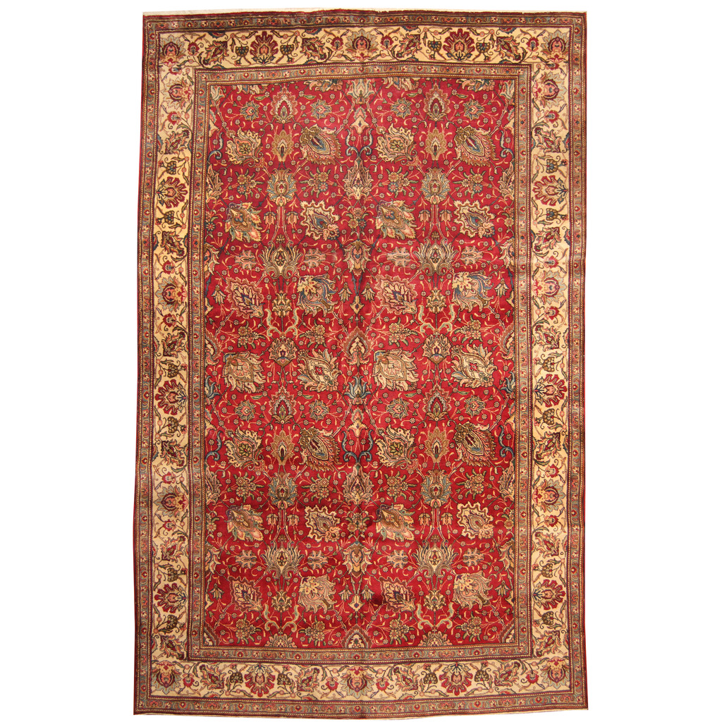 Persian Hand-knotted 1960's Semi-antique Tabriz Wool Rug (10′ x 15'4)