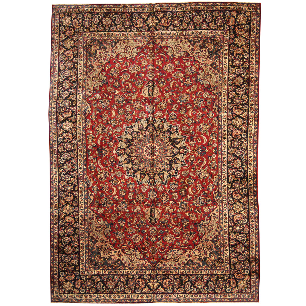 Persian Hand-knotted 1960's Semi-antique Isfahan Wool Rug (10′ x 14'10)