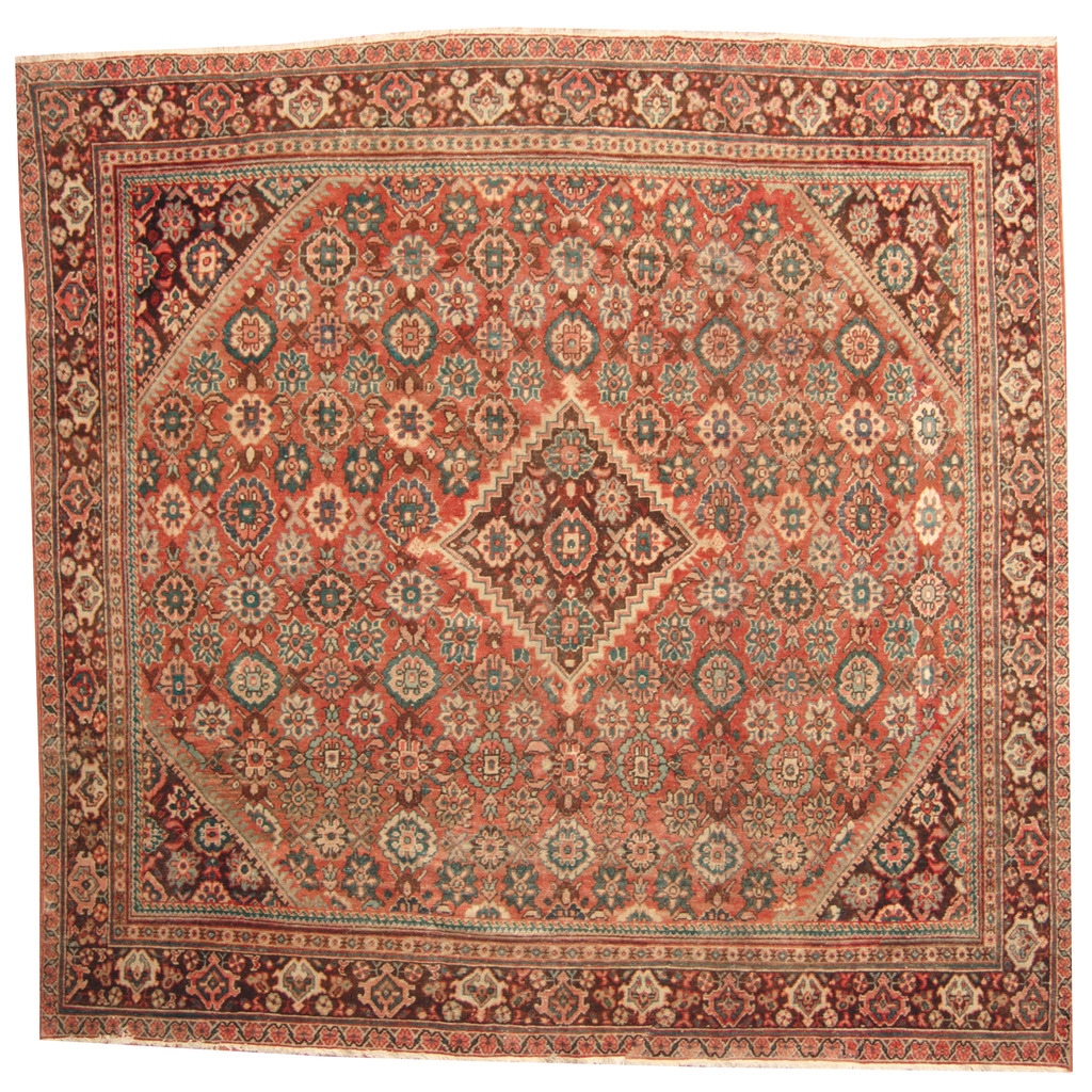 Persian Hand-knotted 1920's Antique Mahal Wool Rug (10'4 x 10'6)
