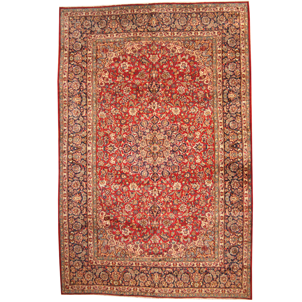 Persian Hand-knotted 1960's Semi-antique Isfahan Wool Rug (10'10 x 16'10)