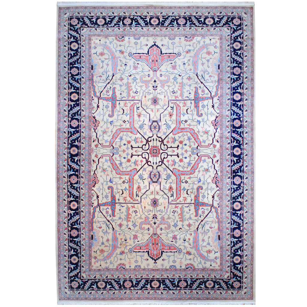 Indo Hand Knotted Heriz Wool Rug 12 X 18 3