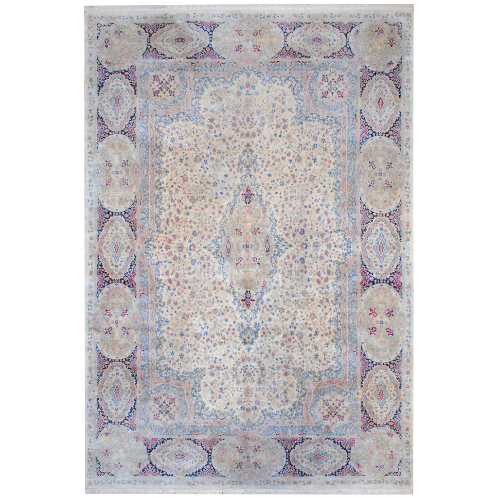 Persian 1950s Hand-knotted Kerman Wool Rug (11'10 x 17'8)