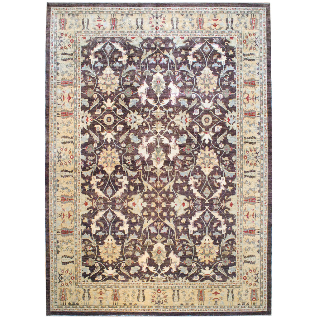 Afghan Hand-knotted Vegetable Dye Wool Rug (12'9 x 17'7)