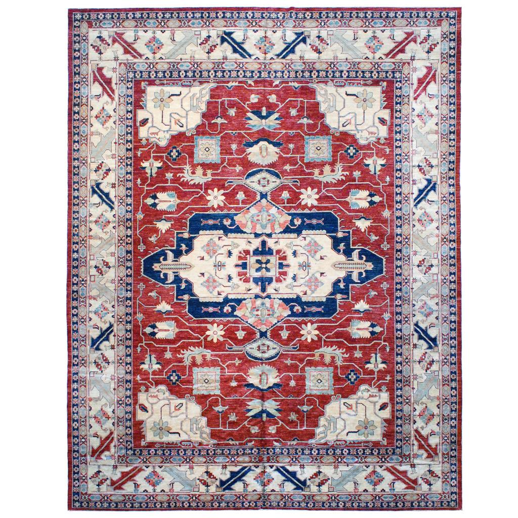 Afghan Hand-knotted Vegetable Dye Kazak Wool Rug (11'10 x 15′)