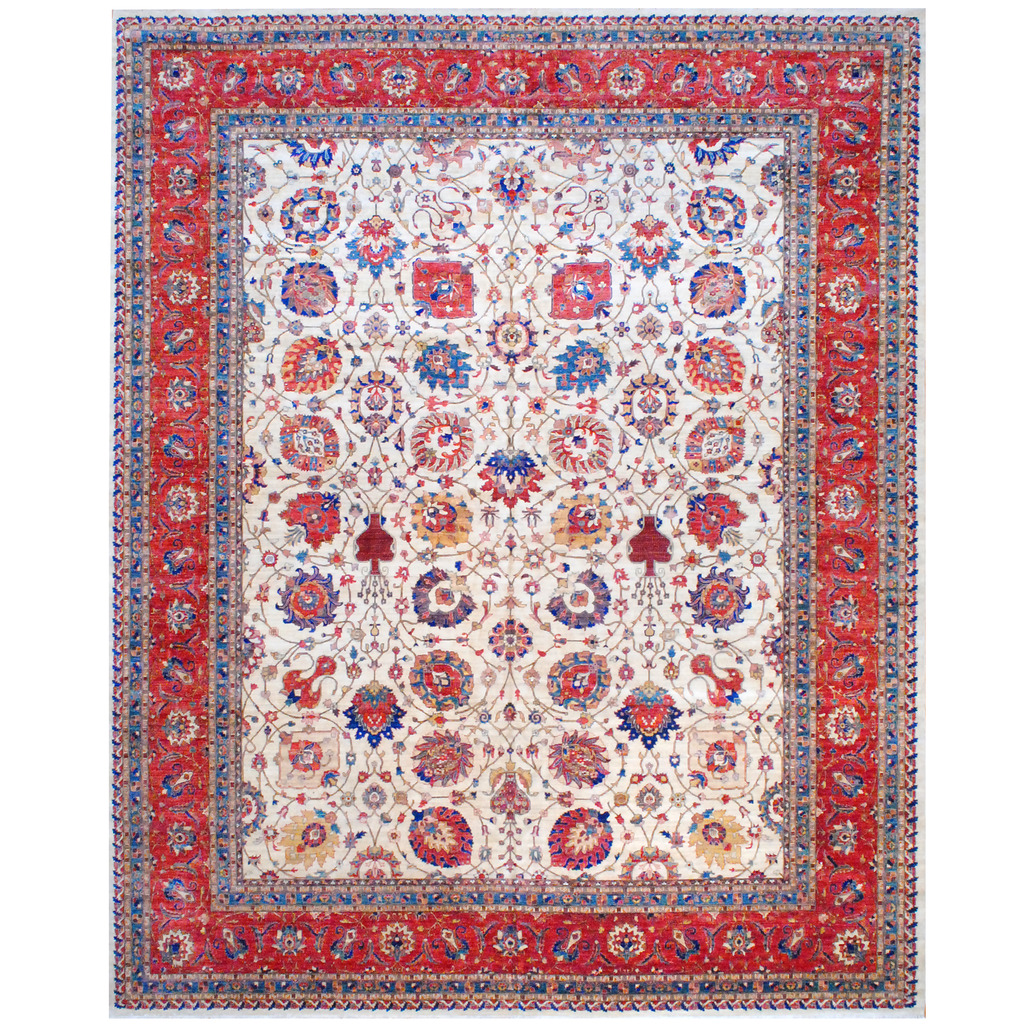 Vegetable Dyed Hand Knotted Floral Oushak Ivory Persian: Afghan Hand-knotted Vegetable Dye Wool Rug (12' X 14'8