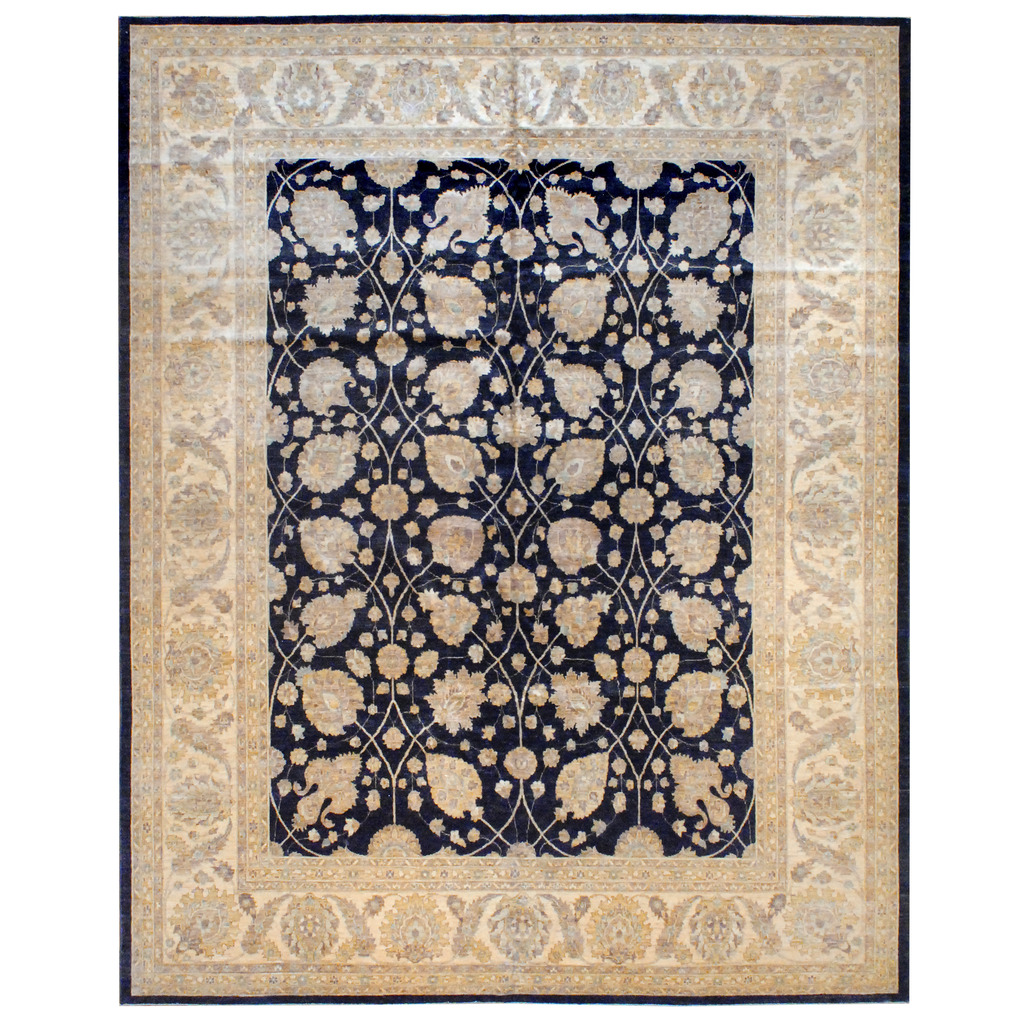 Afghan Hand-knotted Vegetable Dye Wool Rug (12'4 x 15′)
