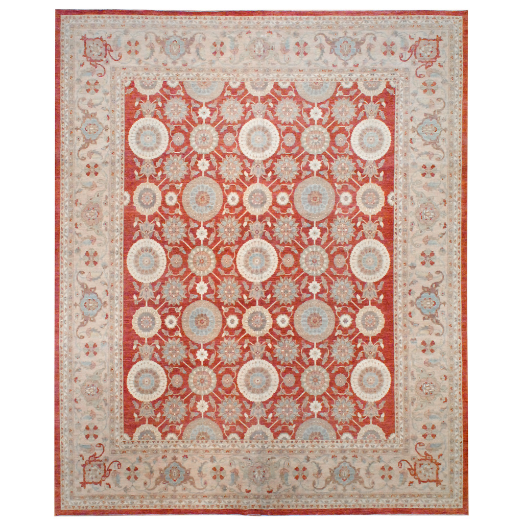 Afghan Hand-knotted Vegetable Dye Wool Rug (12′ x 14'7)