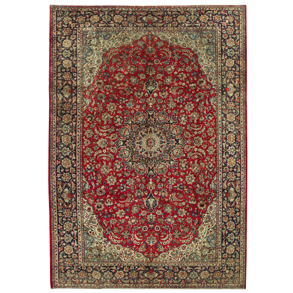 Hand Knotted Persian Isfahan Wool Area Rug: Persian Hand-knotted Isfahan Wool Rug (9'6 X 13'8)