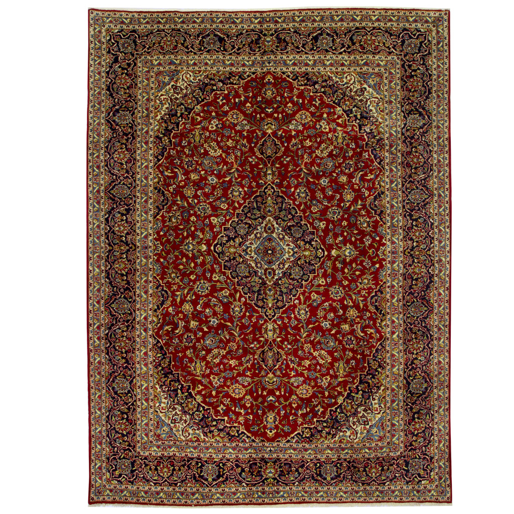 Persian Hand-knotted Kashan Wool Rug (9'10 x 13'2)