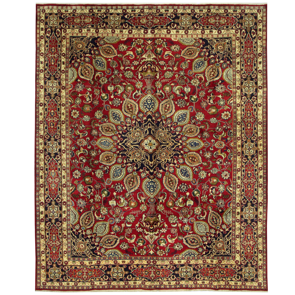 Persian Hand-knotted Mashad Wool Rug (9'11 x 12'3)