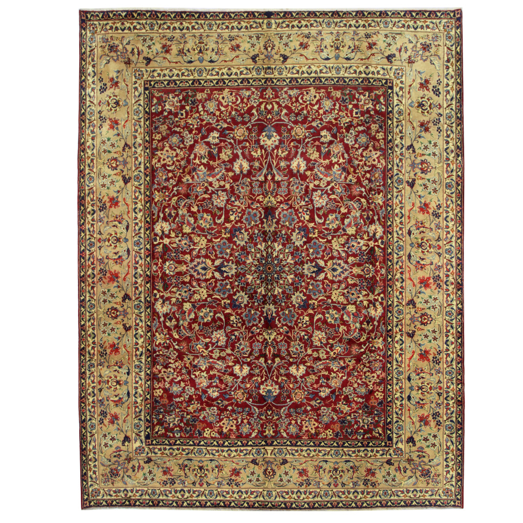Persian Hand-knotted Yazd Wool Rug (10′ x 13′)