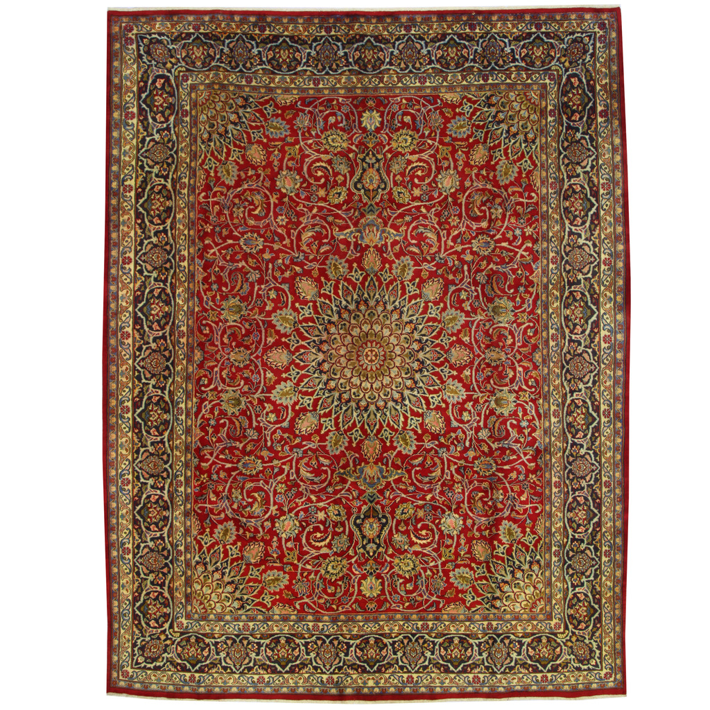 Persian Hand-knotted Mashad Wool Rug (9'9 X 12'10)