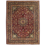 Persian Hand-knotted Mashad Wool Rug (9'9 x 12'9) 1