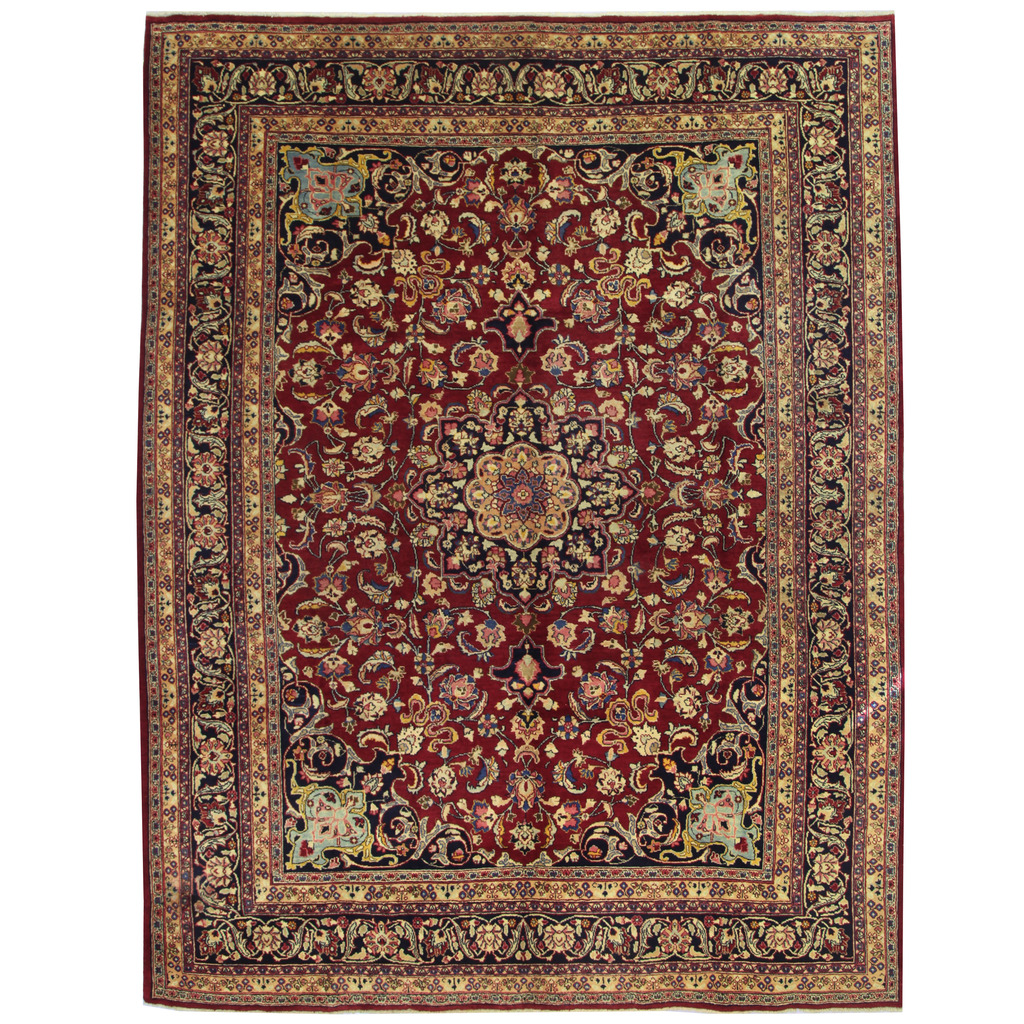 Persian Hand-knotted Mashad Wool Rug (9'9 x 12'9)