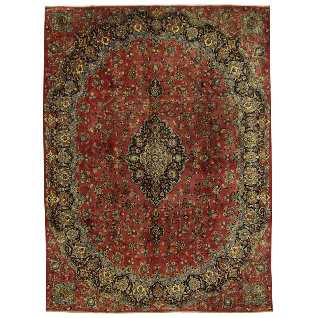 Persian Hand-knotted Mashad Wool Rug (9'4 x 12'8)