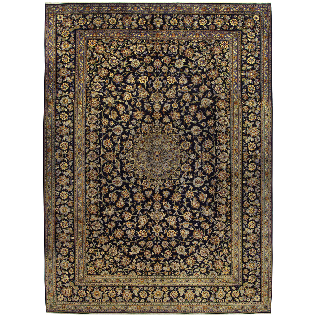 Persian Hand-knotted Kashan Wool Rug (10'3 x 14'1)