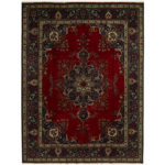 Persian Hand-knotted Tribal Tabriz Wool Rug (9'10 x 12'11) 1