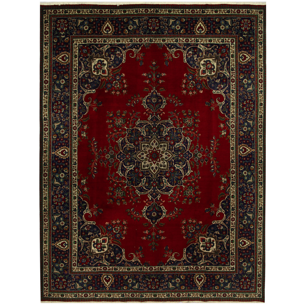 12 10 X 14 11 Persian Karajeh Hand Knotted Wool: Persian Hand-knotted Tribal Tabriz Wool Rug (9'10 X 12'11