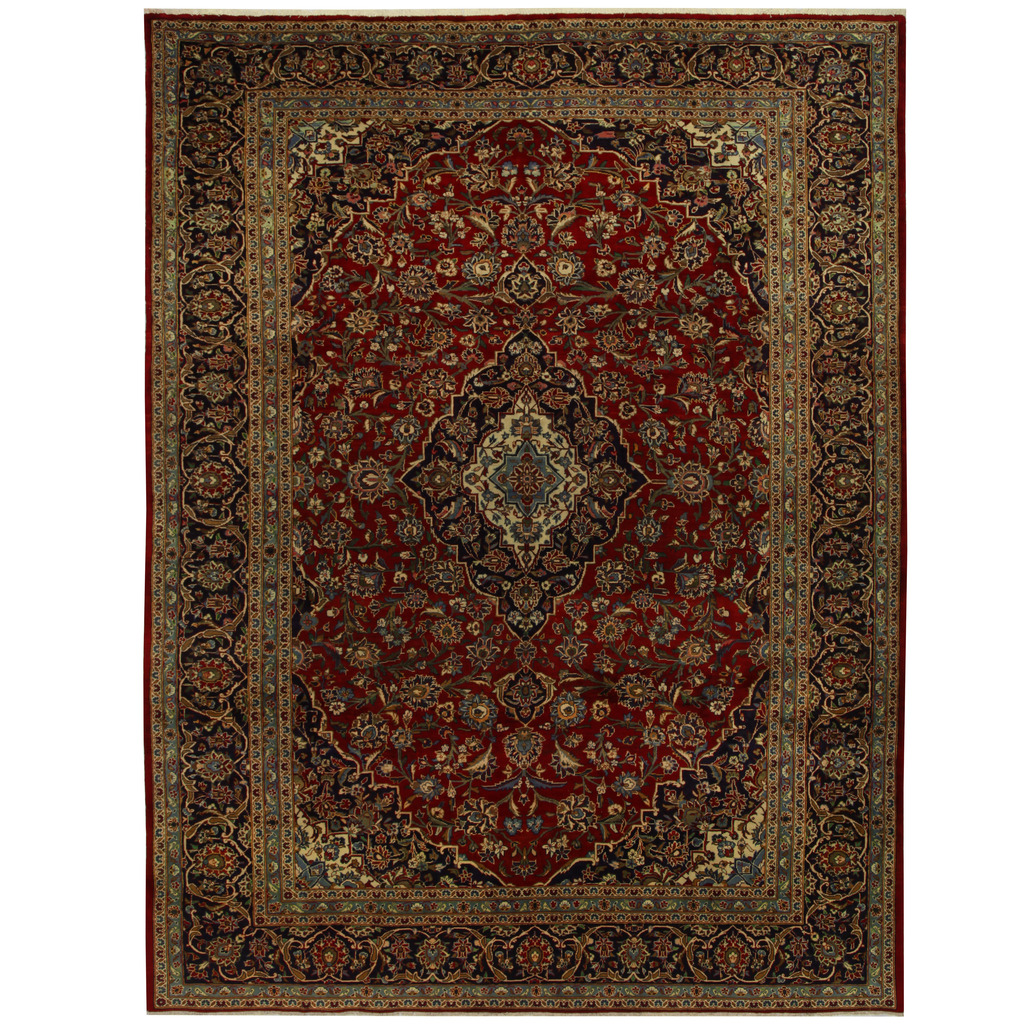 Persian Tribal Rugs: Persian Hand-knotted Tribal Kashan Wool Rug (9'9 X 13'2