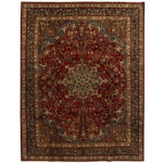 Persian Hand-knotted Tribal Mashad Wool Rug (9'10 x 12'9) 1