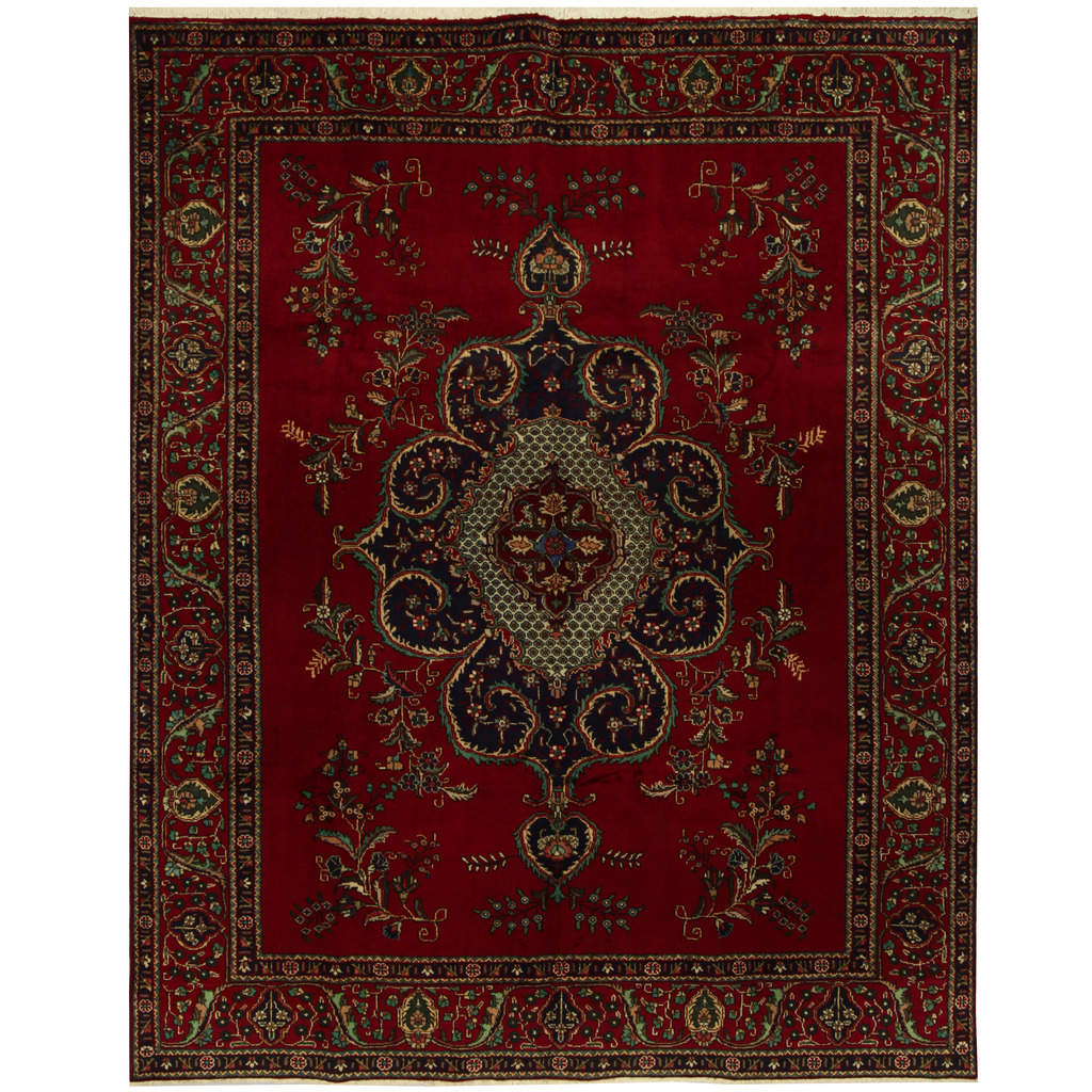 Persian Hand-knotted Tribal Tabriz Wool Rug (10′ x 12'8)
