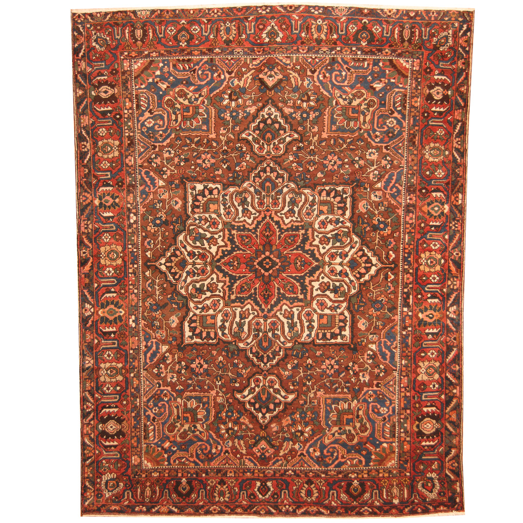 Vintage Persian Bokhara Wool Area Rug 10 X 13: Persian Hand-knotted Semi-Antique 1940s Tribal Bakhtiari