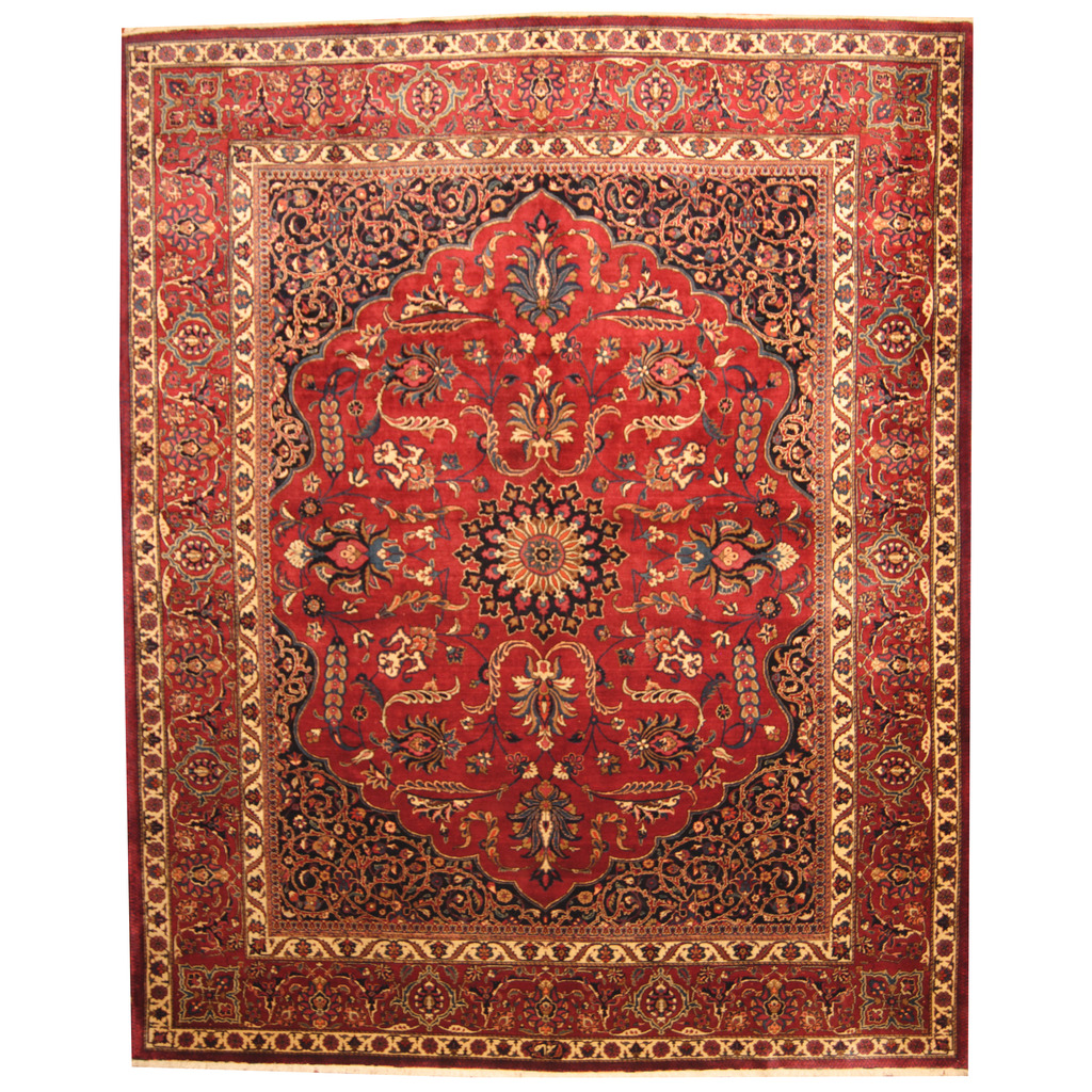 Vintage Persian Bokhara Wool Area Rug 10 X 13: Persian Hand-knotted Semi-Antique 1940s Mashad Wool Rug