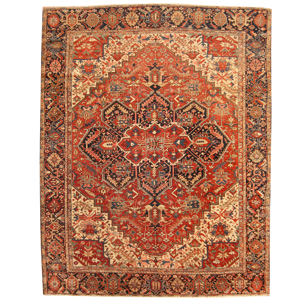 Persian Hand-knotted Semi-Antique 1960s Tribal Heriz Wool
