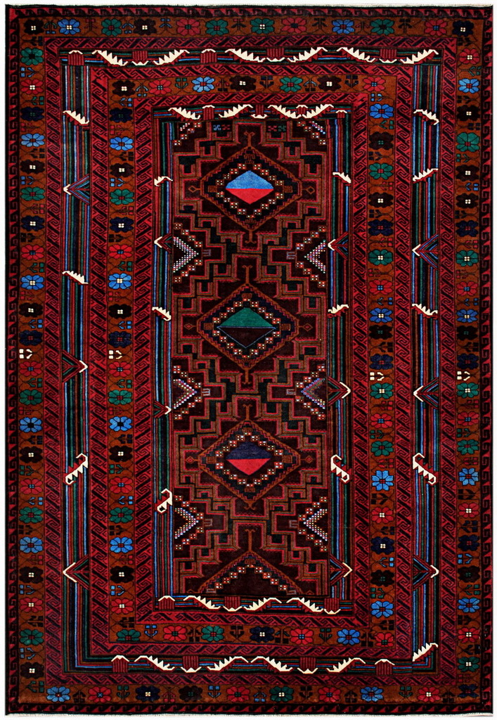 Afghan Hand-knotted Tribal Balouchi Wool Rug (6'8 x 9'11)