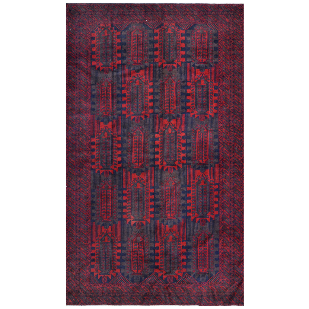 Afghan Hand-knotted Tribal Balouchi Wool Rug (6'1 x 10'3)