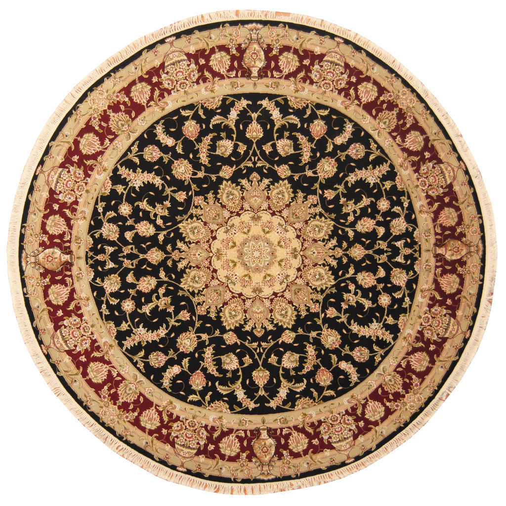Hand Knotted Persian Tabriz Wool Area Rug Ebth: Indo Hand-knotted Round Tabriz Wool And Silk Rug (8' X 8