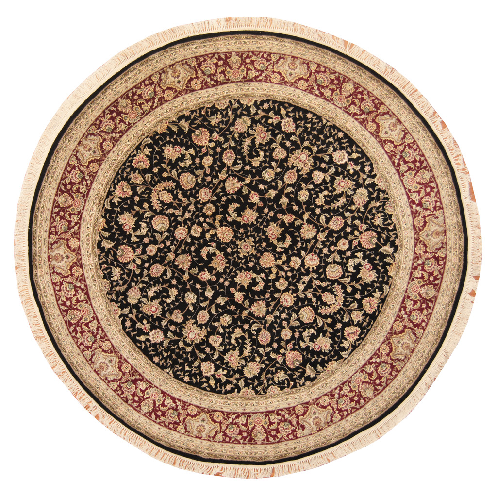 Indo Persian Tabriz Wool Area Rug: Indo Hand-knotted Round Tabriz Wool And Silk Rug (8'3 X 8
