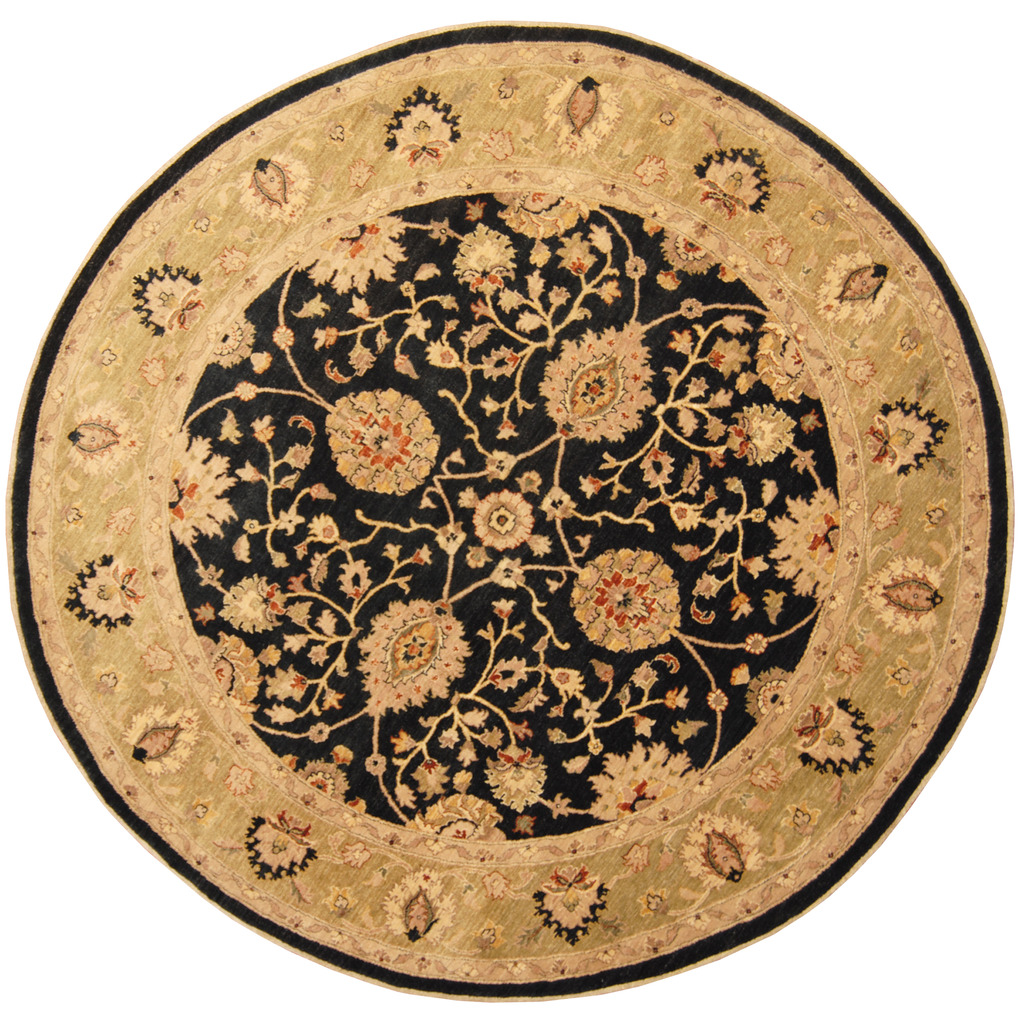 Round Wool Persian Rug: Afghan Hand-knotted Round Vegetable Dye Oushak Wool Rug (8