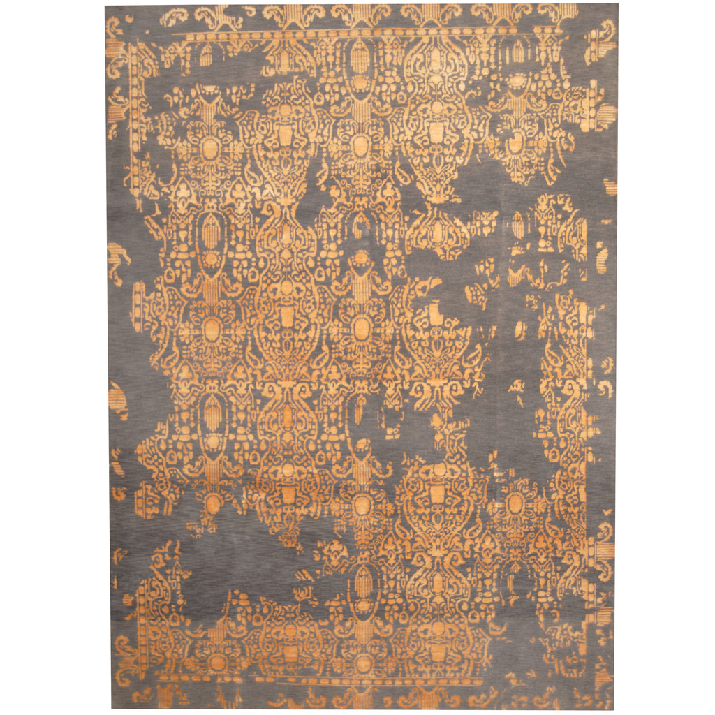 Indo Hand Knotted Erased Wool And Silk Rug 8 4 X 11 7 Herat Oriental Rugs