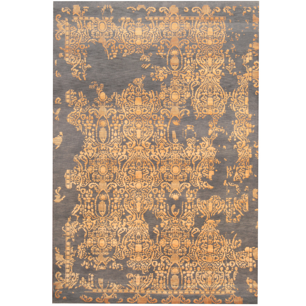 Indo Hand Knotted Erased Wool And Silk Rug 6 7 X 9 9