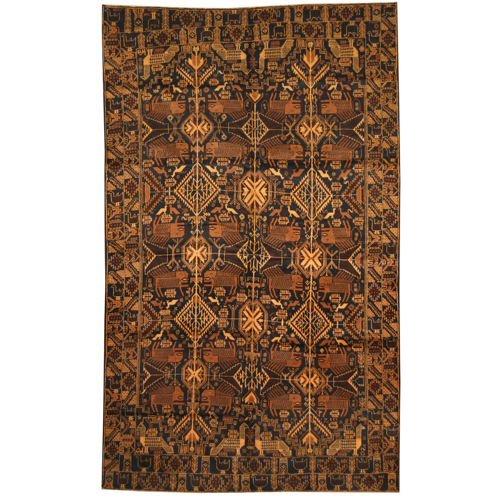Afghan Hand-knotted Tribal Balouchi Wool Rug (6'2 x 10'1)