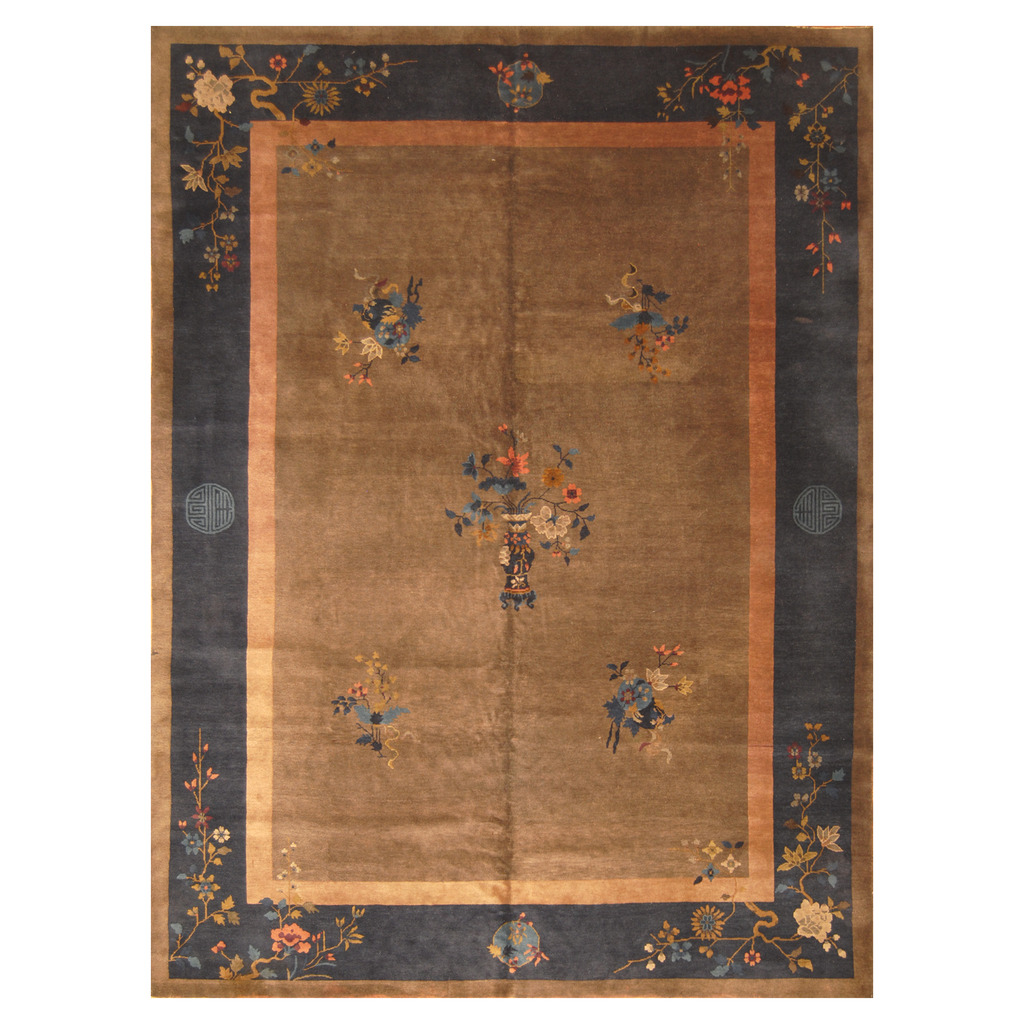 Sino Hand Knotted Antique 1920s Art Deco Wool Rug 8 9 X 11 7
