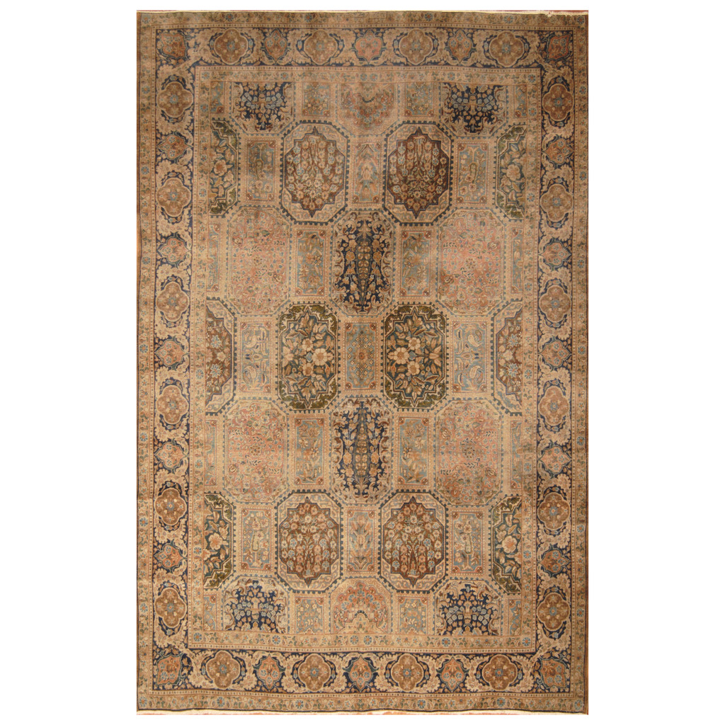 Persian Hand Knotted Antique 1920s Tabriz Wool Rug 8 X 12 4