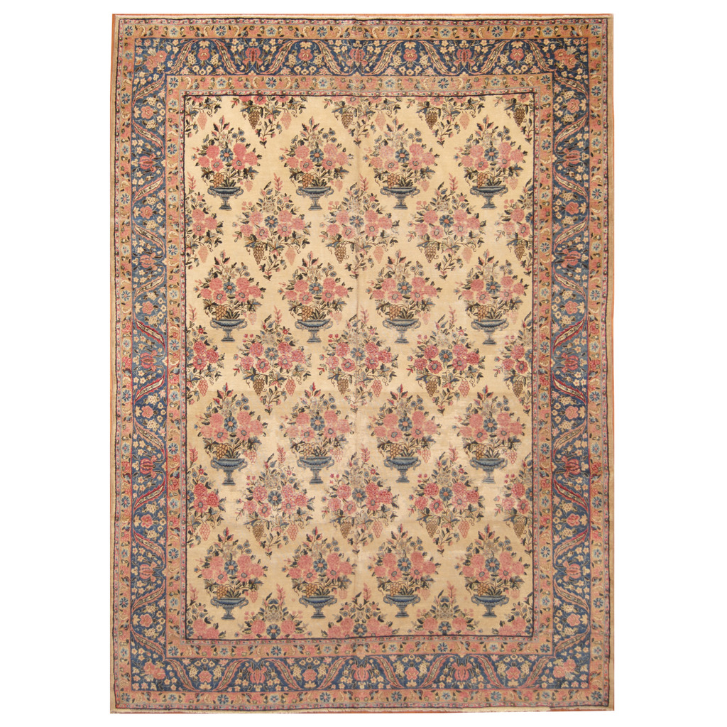 Persian Hand Knotted Antique 1920s Kerman Wool Rug 8 10 X