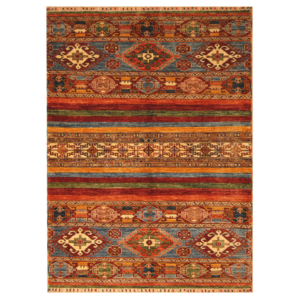 5 X 6 Vintage Kazak Persian Oriental Wool Hand Knotted: Afghan Hand-knotted Kazak Wool Rug (5'1 X 6'7)
